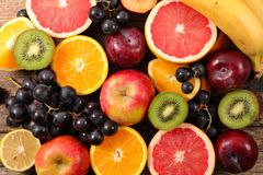 Assorted fresh fruits. Top view royalty free stock photo
