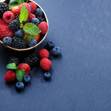 Assorted fresh garden berries on a black background Royalty Free Stock Images