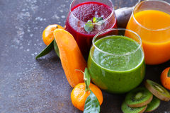 Assorted fresh juices from fruits vegetables Royalty Free Stock Photography