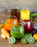 Assorted fresh juices from fruits vegetables Stock Photography