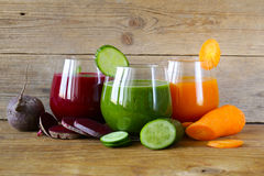 Assorted fresh juices from fruits vegetables Royalty Free Stock Photos