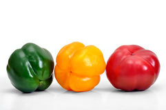Assorted fresh multicolored peppers on white background Stock Images