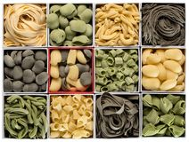 Fresh pasta assorted. royalty free stock photos