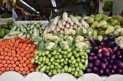 Assorted fresh raw organic vegetables. Composition with assorted fresh raw organic vegetables in Little India market, Singapore Royalty Free Stock Photos
