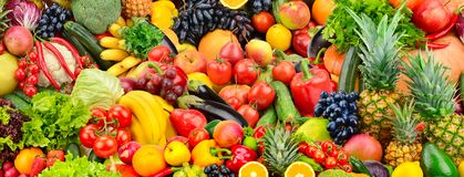 Assorted fresh ripe fruits and vegetables. Food concept backgrou royalty free stock images