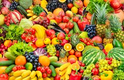 Assorted fresh ripe fruits and vegetables. Food concept backgrou stock image
