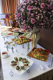 Assorted fresh salads displayed on a buffet Stock Photography