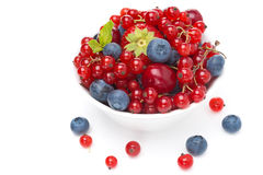 Assorted fresh seasonal berries in a bowl isolated, close-up Stock Photos