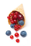 Assorted fresh seasonal berries in a waffle cone isolated Stock Photography