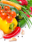 Assorted fresh seasonal vegetables isolated with space for text Stock Photo