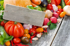 Assorted Fresh Seasonal Vegetables With Wooden Nameplate Royalty Free Stock Images