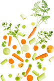 Assorted fresh vegetables. Falling, isolated on white background stock image