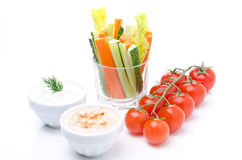 Assorted fresh vegetables (celery, cucumber, carrot, tomatoes Royalty Free Stock Image