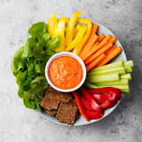 Assorted fresh vegetables with dip Healthy eating Royalty Free Stock Image