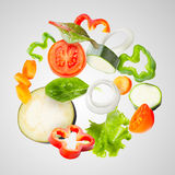 Assorted fresh vegetables flying Royalty Free Stock Images