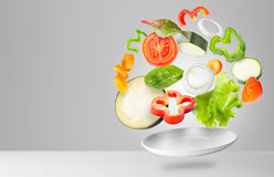Assorted fresh vegetables flying in a plate Royalty Free Stock Photography