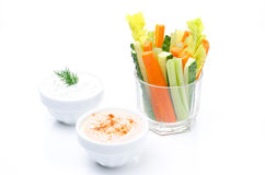 Assorted fresh vegetables in a glass (celery, cucumber, carrot) Royalty Free Stock Photos