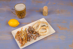 Assorted fried fish Stock Photo