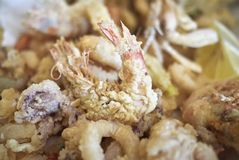 Assorted fried seafood Royalty Free Stock Images