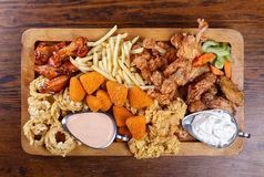 Assorted fried snacks Stock Images