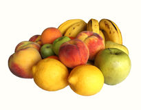 Assorted Fruit. Pile of assorted fruit isolated over a white background Stock Image