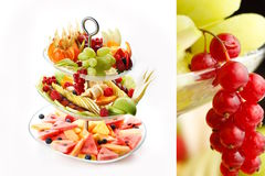 Assorted Fruit. Serving dish with watermelon, apples, pears, grapes, berries and other fruit Royalty Free Stock Photo