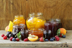 Assorted fruit berry jams Stock Images