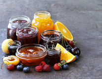 Assorted fruit berry jams Stock Photo