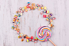 Assorted fruit candies and lollipop Stock Photography