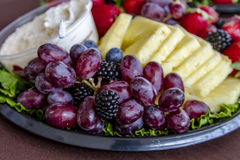 Assorted Fruit and Cheese Tray Stock Photos