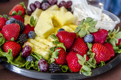 Assorted Fruit and Cheese Tray Stock Photo