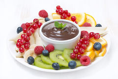 Assorted fruit with chocolate sauce on a plate. Horizontal Royalty Free Stock Photography