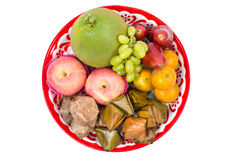 Assorted fruit, Dessert on tray for Chinese new year celebration isolated Royalty Free Stock Photo