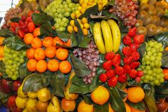 Assorted fruit of different colors displayed during a food and wine fair. Assorted fruit of different colors, bananas, oranges, grapes, exposed during a taste Royalty Free Stock Photography
