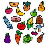 Assorted fruit food sweet cooking cartoon Royalty Free Stock Images