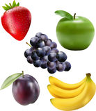 Assorted Fruit. 5 fruits- apple, bananas, grapes, plum and strawberry Royalty Free Stock Photography
