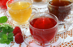 Assorted fruit/herb teas Stock Photography