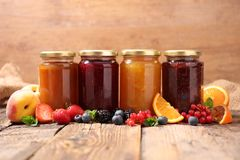 Assorted fruit jam royalty free stock photography
