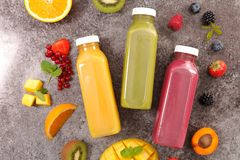 Assorted fruit juice. Top view Stock Images