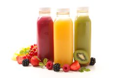 Assorted fruit juice. On white Royalty Free Stock Image