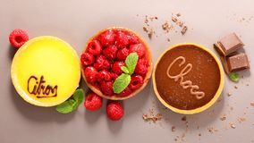 Assorted of fruit pastry stock images