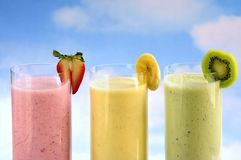 Assorted fruit smoothies stock image