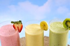 Assorted fruit smoothies Royalty Free Stock Photos