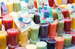 Assorted fruit smoothies Royalty Free Stock Photography