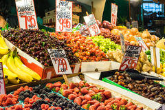 Assorted fruit stand, indoor market Stock Photography