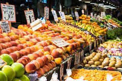 Assorted fruit stand, indoor market Stock Images