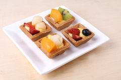Assorted fruit tarts on plate - series 3 Royalty Free Stock Photo