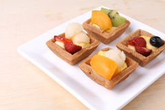 Assorted fruit tarts on plate - series 4 Royalty Free Stock Photos