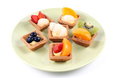 Assorted fruit tarts on round plate - Series 2 Stock Photography