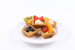 Assorted fruit tarts on round plate - Series 6 Stock Photo
